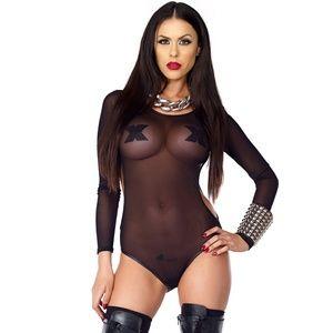 Long Sleeve Bodysuit Sheer Mesh Side Cut Outs
